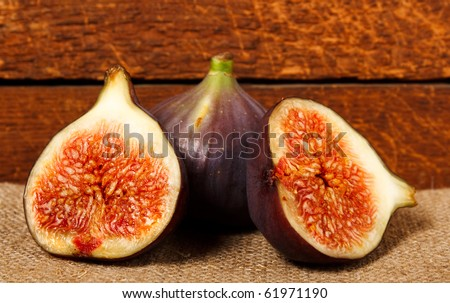 ripe figs on rural background