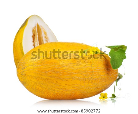 Ripe fresh and delicious melon isolated on white background - stock photo