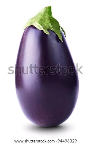 Ripe fresh aubergine isolated on white background - stock photo