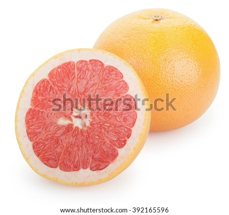 Ripe fresh Grapefruit and half on white background. Clipping Path