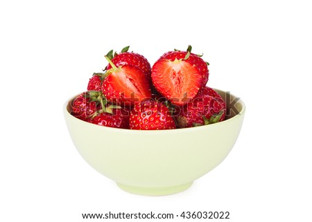 Ripe fresh strawberry isolated on a white background - stock photo