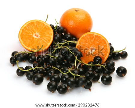 Ripe fruit and black currant - stock photo