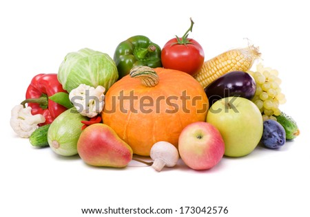 Ripe fruit and vegetables,healthy food. - stock photo