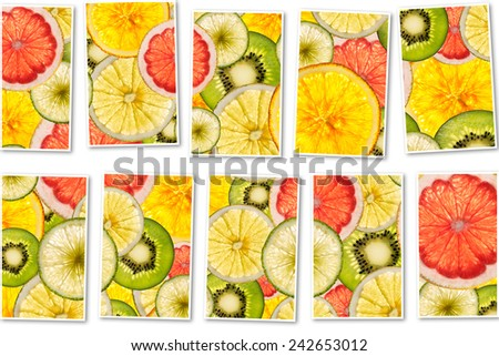Ripe Fruit collage made from slices of mixed fruit - stock photo