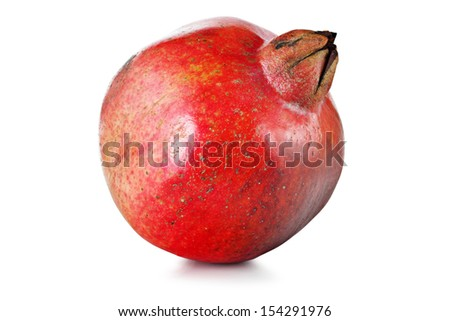 Ripe fruit of pomegranate on a white background.