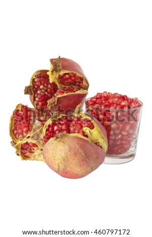 Ripe fruit of the pomegranate with tasty seeds - stock photo