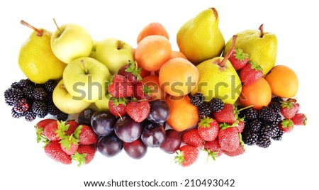 Ripe fruits and berries isolated on white - stock photo