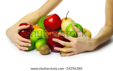 Ripe fruits and hand - stock photo