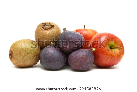 ripe fruits: figs, kiwi and apples isolated on a white background. horizontal photo.