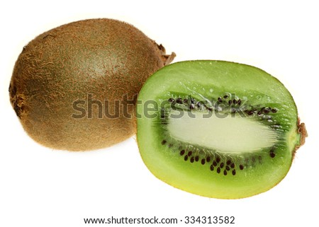 Ripe fruits of a kiwi it is isolated on a white background - stock photo