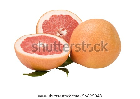 Ripe grapefruit with drops of dew and slice of Grapefruit with leaves on a white background - stock photo