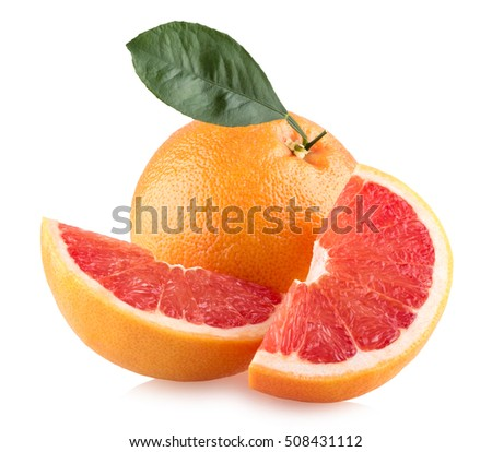 Ripe grapefruits isolated on white background
