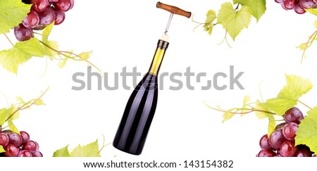 Ripe grapes, red wine and a bottle isolated over white background - stock photo