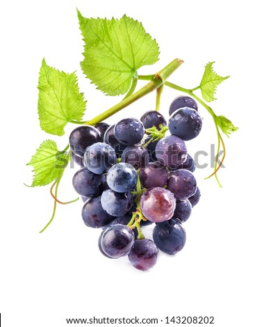 Ripe grapes with leaves on white background - stock photo