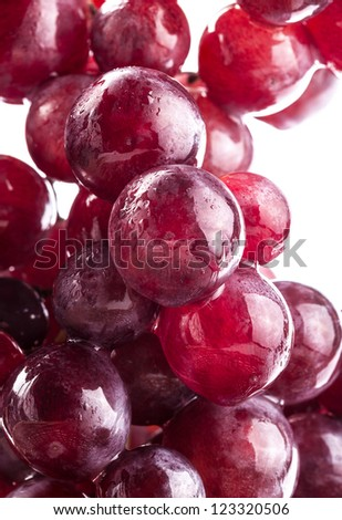 Ripe grapes with water drops, on white background - stock photo