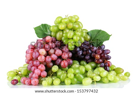 Ripe green and purple grapes isolated on white - stock photo