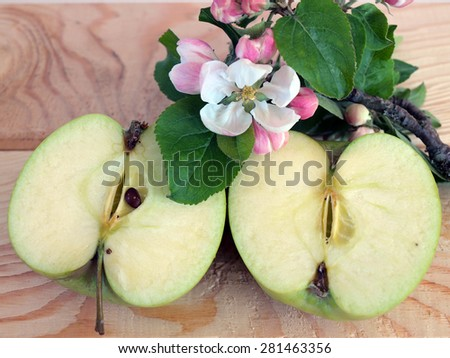 Ripe green apple bisected and branch with blossoms - stock photo
