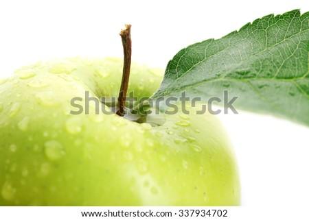 Ripe green apple close up - stock photo