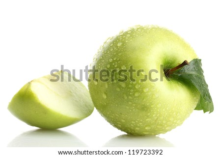 Ripe green apple with leaf and slice, isolated on white - stock photo