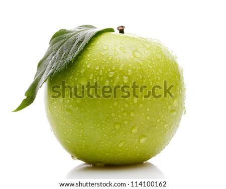 Ripe green apple with leaf isolated on white - stock photo