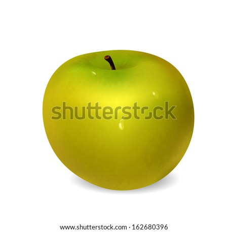 Ripe green apple with water drops on white background. Raster version - stock photo