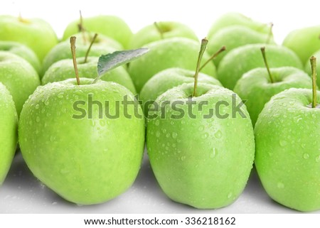 Ripe green apples close up - stock photo