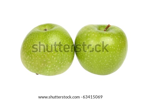 Ripe Green apples isolated on a white background