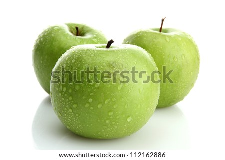 Ripe green apples isolated on white - stock photo