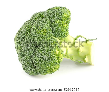 Ripe green broccoli cabbage isolated on white background