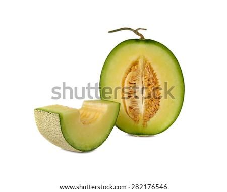 ripe green cantaloupe melon with stem on white background - stock photo