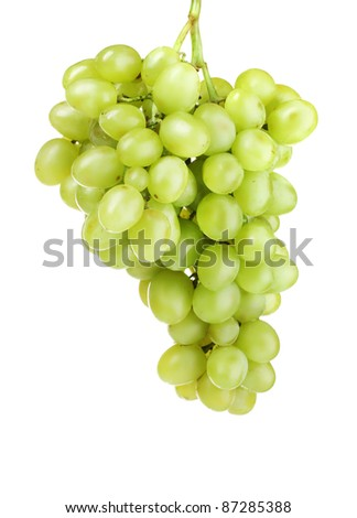 Ripe green grapes isolated on white - stock photo