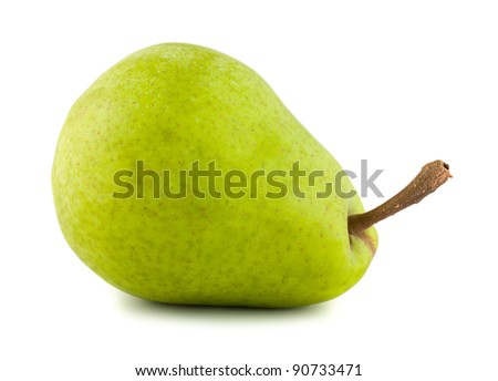 Ripe green pear isolated on white background - stock photo