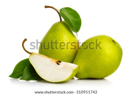 Ripe green pears isolated with leaves isolated on white - stock photo