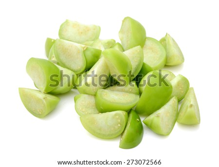 Ripe Green sliced Tomatillos at the cooking