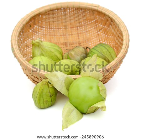 Ripe Green Tomatillos on basket