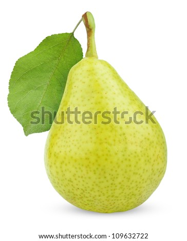 Ripe green yellow pear fruit with leaf isolated on white - stock photo