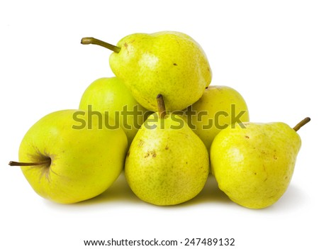 Ripe green yellow pears and apples isolated on white  - stock photo