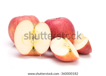 Ripe Japanese San-Fuji apples (grown In Aomori prefecture) isolated on white background - stock photo