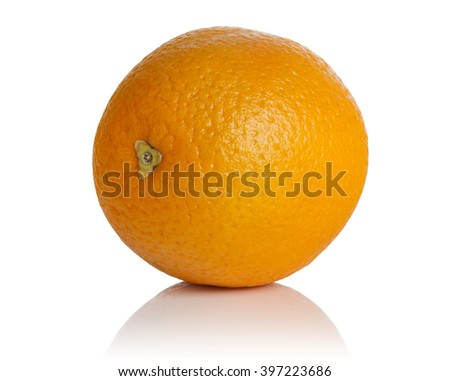 ripe juicy orange fruit on white background - stock photo