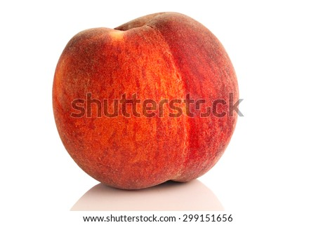 ripe, juicy peach on a white background. - stock photo