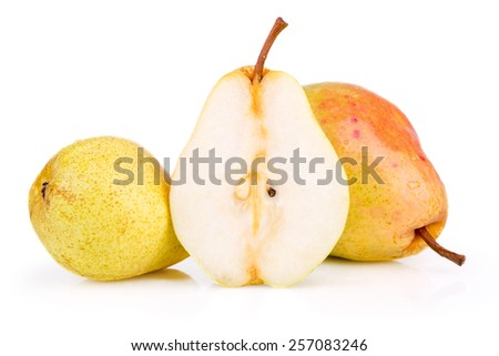 ripe juicy pear on a white background - stock photo