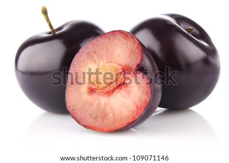 ripe juicy plum isolated on white background - stock photo