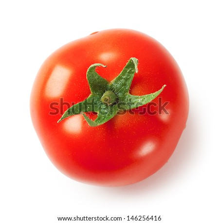 Ripe juicy tomatoes isolated on white background - stock photo