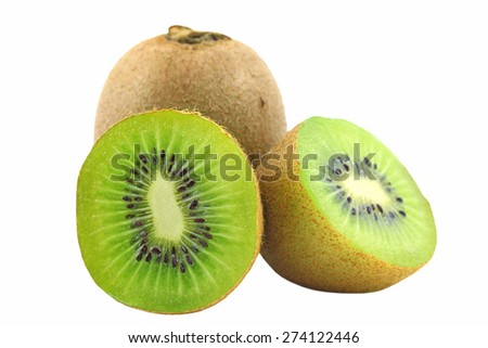 Ripe kiwi fruits with half isolated on white background - stock photo