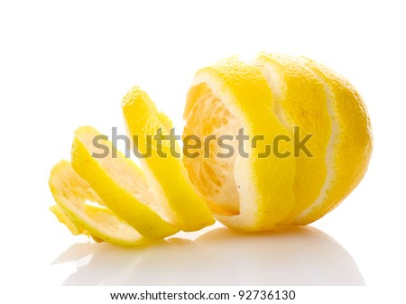ripe lemon isolated on white - stock photo