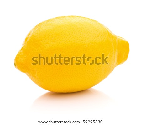 Ripe lemon isolated on white background - stock photo