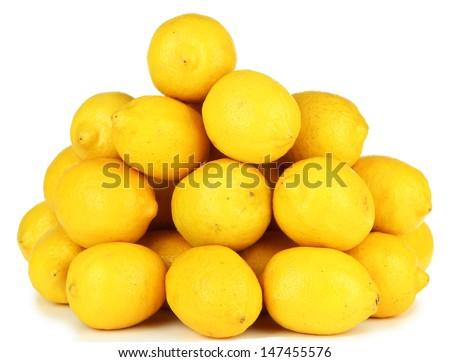 Ripe lemons isolated on white - stock photo
