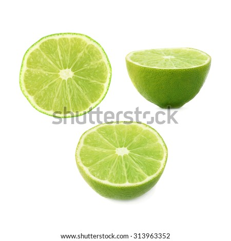 Ripe lime cut in half isolated over the white background, , set of three different foreshortenings - stock photo