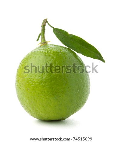 Ripe lime with green leaf. Isolated on white - stock photo