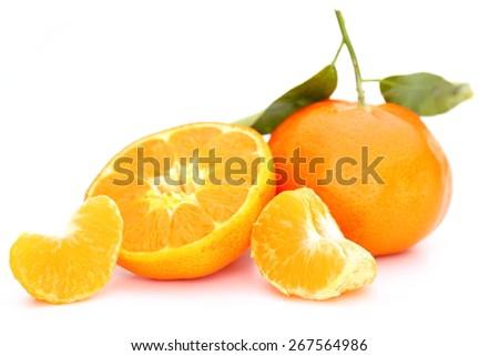 Ripe mandarin citrus isolated on white background - stock photo